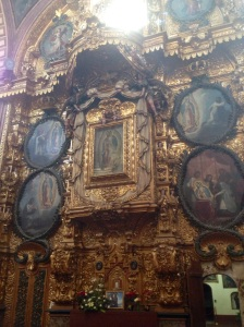 I'm not sure the Blessed Virgin Mary would recognize herself here, but it does make a statement. Santa Rosa de Viterbo, begun in 1752, Querétaro.