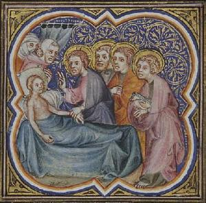 """Healing Jairus' Daughter"" From Petrus Comestor's Bible Historiale, 1372, France"